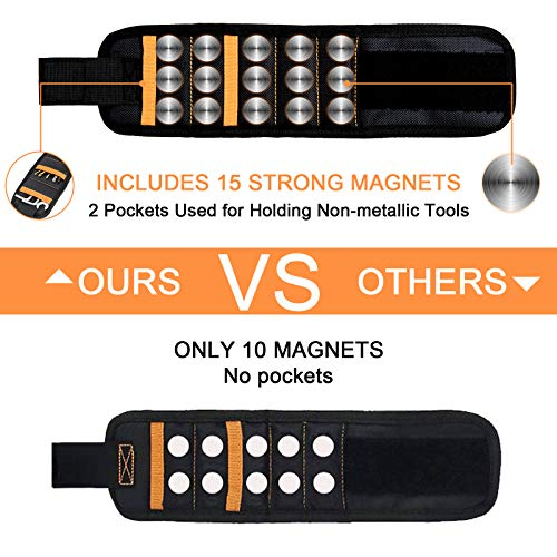 Magnetic Wristband,Tool Belt with 15 Strong Magnets and 2 Pockets for Holding Screws,Tools, Nails,Drill Bits,Great Gifts for Men,Dad,Husband,DIY Handyman, Black