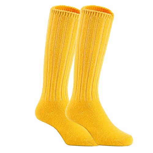 Knee 1/2 Inch Boot 4 (Lian LifeStyle Unisex Baby Children 2 Pairs Knee High Wool Blend Boot Socks Size 4-6Y (Yellow))
