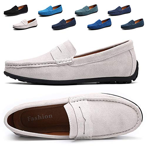TSIODFO Mens Slip On Loafers Suede Cow Leather Breathable Comfortable Driving Shoes for Men Fashion Sneakers Size 7.5 White (A101White41)