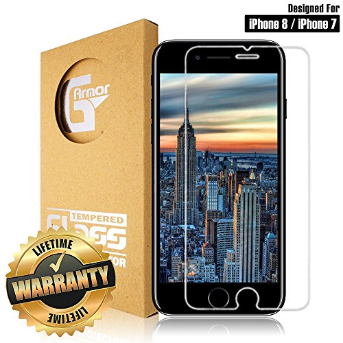 iPhone 8 / iPhone 7 Screen Protector by G-armor - 9H Tempered Glass Screen Protector Cover / Ultra Clear HD Screen Guard for 4.7-inch iPhone 8 / iPhone (Screen Protector Single)