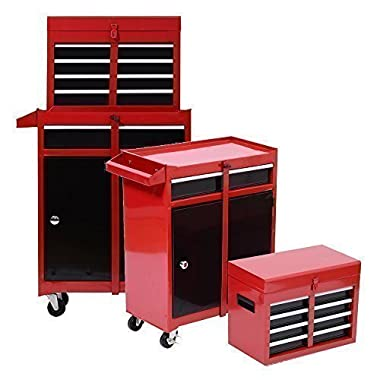 Tenive Pro Deluxe 5 Drawers Top Removable Rolling Mobile Tool Cabinet Tool Box Tool Storage Chest set, Red and Black