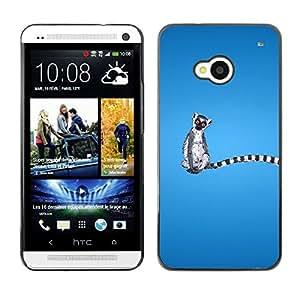 TopCaseStore / la caja del caucho duro de la cubierta de protección de la piel - Long Tail Grey White Animal Ring Tailed Lemur Rainforest - HTC One M7