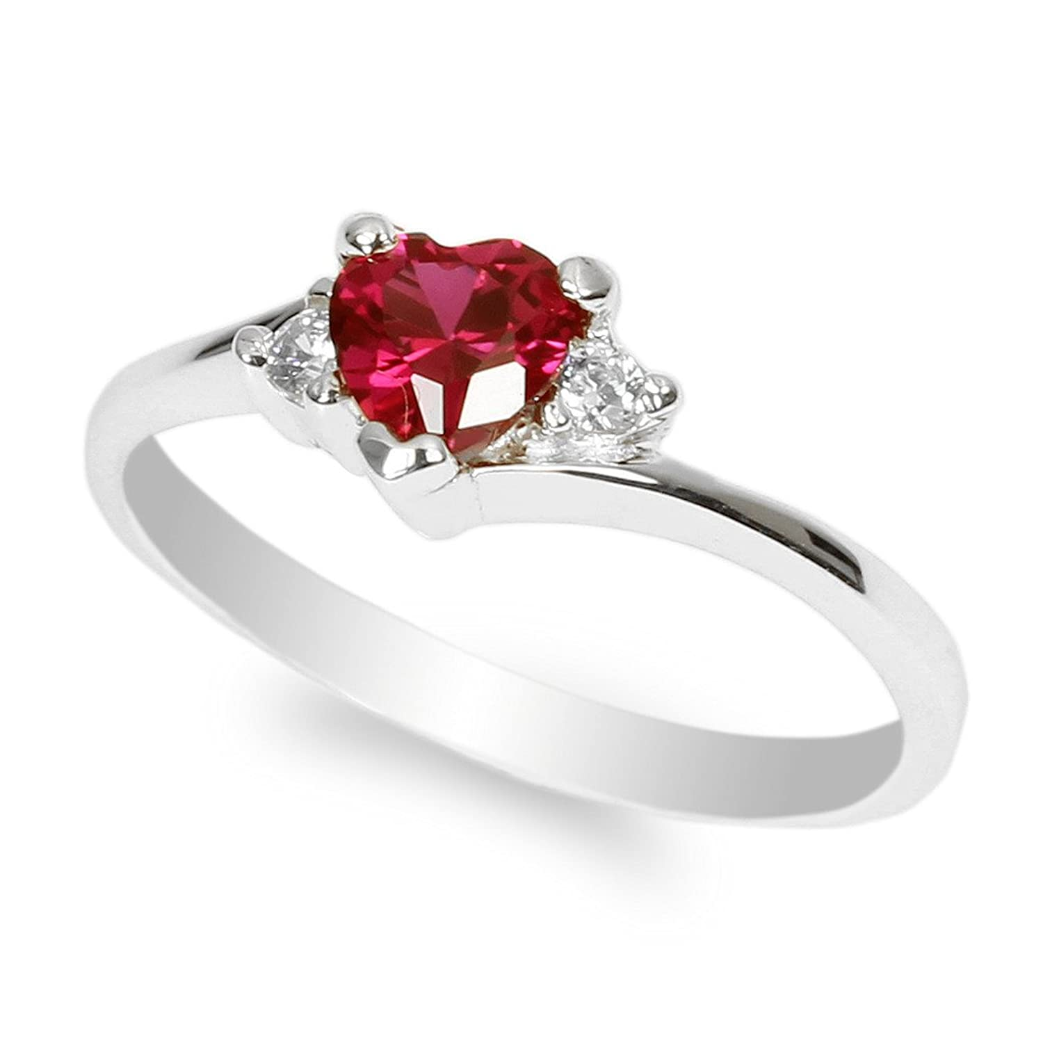 JamesJenny Ladies White Gold Plated 0.5ct Heart Red CZ Fashion Ring Size 4-10