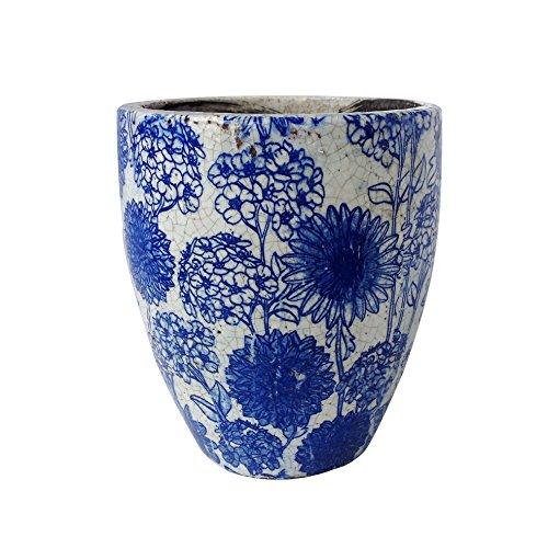 [Newly Designed old world vintage blue and white ceramic garden pot 144268M-Q40 (Tall)] (Blue Ceramic Garden)
