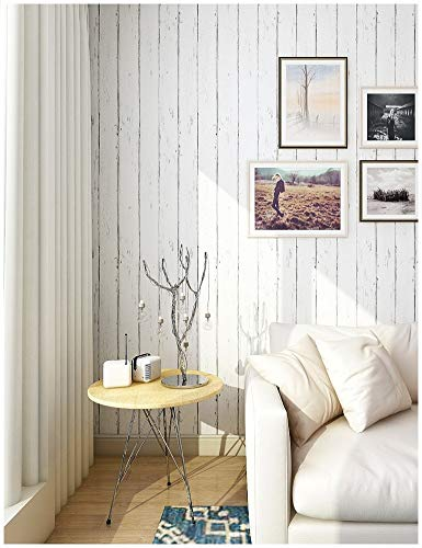 HaokHome 61027 Vintage White Woods Plank Peel & Stick Wallpaper Rolls White/Grey Trees Kitchen Wall Paper Murals Barnwood Home 17.7