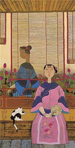 Perfect Effect Canvas ,the High Resolution Art Decorative Canvas Prints Of Oil Painting 'Hu Yongkai,Woman With A Fan,21th Century', 20x39 Inch / 51x100 Cm Is Best For Hallway Decoration And (Algebra 1 Halloween Activities)