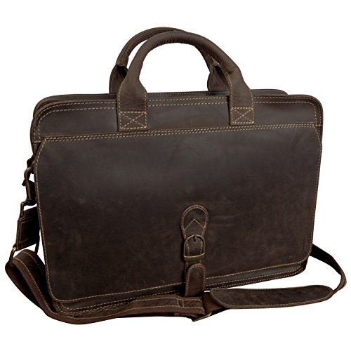 "Canyon Outback Texas Canyon 15"" Leather Computer Briefcase - Distressed Brown"