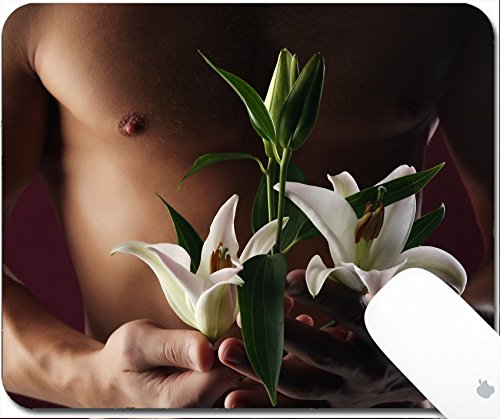 White Lily Florist (Luxlady Gaming Mousepad 9.25in X 7.25in IMAGE: 44273135 close up of white lily in the hands against the background)