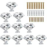 Szaike 10 Pcs Crystal Glass Cabinet Knobs 40MM Diamond Shape Crystal Glass Cabinet Knob Cupboard Drawer Pull Handles Great for Cupboard, Kitchen and Bathroom Cabinets, Shutters