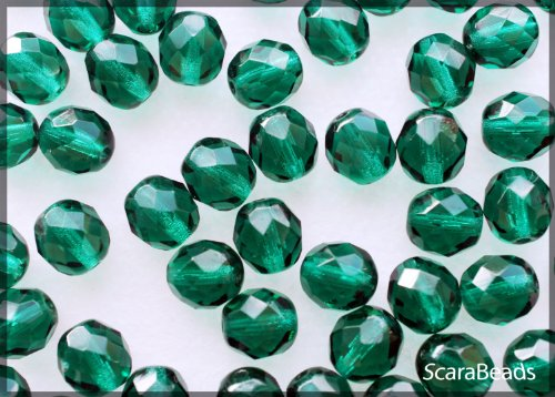25pcs Czech Fire-polished Glass Beads Faceted Round 8mm Emerald Green