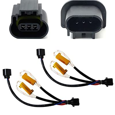 iJDMTOY Error Free H13 9008 Wiring Harness Adapters w/ Load Resistors Compatible With Xenon Headlight Kit: Automotive