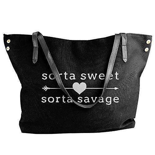 Savage Shoulder Handbag Large Canvas Sorta Sorta Tote Capacity Black Large Sweet Women's Bags 8wCapxqp
