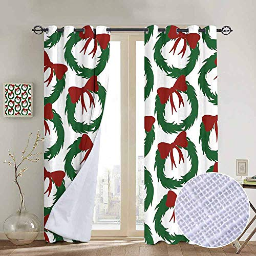 - NUOMANAN Print Curtains for Bedroom Curtain Geometric,Leaves Ribbon Design Sacred Traditions of Christmas Seasonal Ornate Motif,Green Ruby White,Grommet Window Treatment Set for Living Room 54