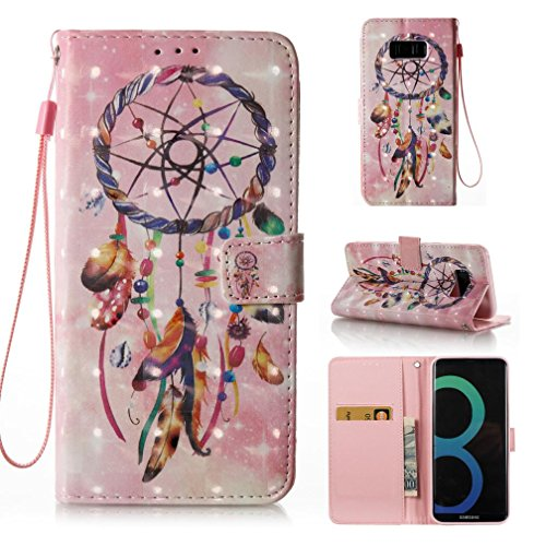 Galaxy S8 Plus case,FlREFlSH Lightweight Wrist Straps Cover Sport Drop Resistant Dustproof Cover Case Full Body Protection Credit Card Holder Folio Flip Wallet Case for Samsung Galaxy S8 Plus-Pink