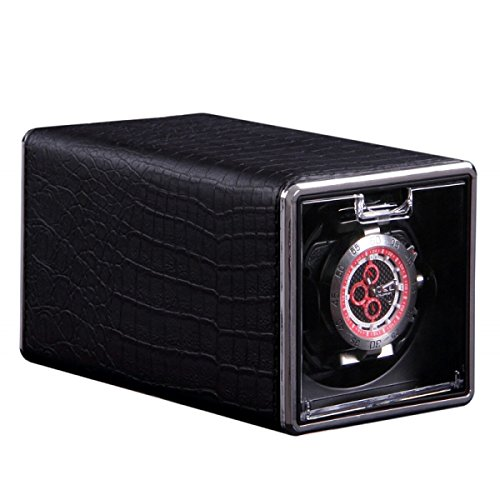 HiPai Single Automatic Watch Winder with Crocodile PU Leather Display Box Rotation Watch Wristwatch Winder Rotator