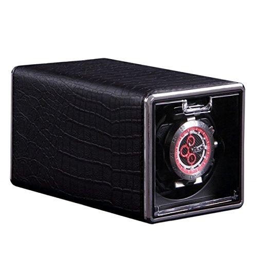 HiPai Single Automatic Watch Winder with Crocodile PU Leather Display Box Rotation Watch Wristwatch Winder Rotator