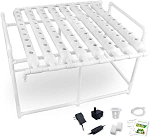 Hydroponic Growing System Gardening Grow Salad Kit, 72 Plant Holes 1 Layer 8 PVC Pipes with Pump, Timer, Sponge, Net Pot, Tutorials for Vegetable Soilless Cultivation with Fertilizer