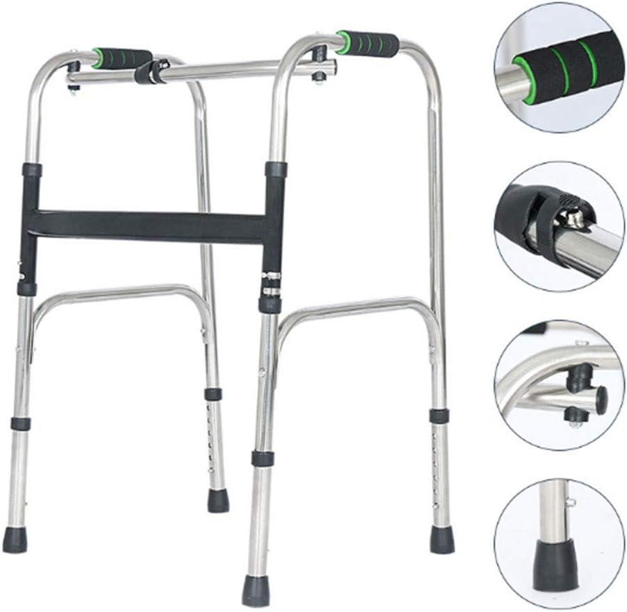 LIBHW Caminantes Ancianos Walker Sin Rueda Plegable Andador Personas de Movilidad Reducida para minusválidos y Andador Zimmer Ancianos de Aluminio Ligero
