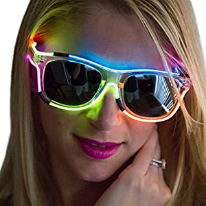 Neon Nightlife Rainbow Frame/Slightly Tinted Lens Wayfarer 55mm Light Up Glasses