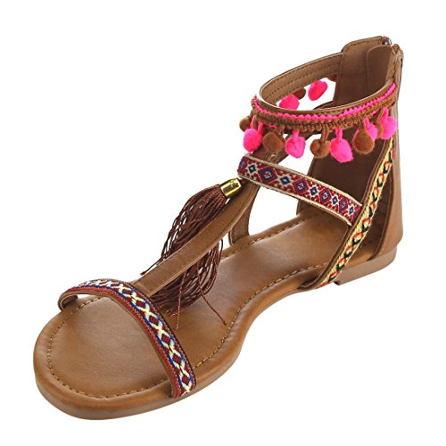 FH92 Camel Embroidered Ankle Sandals Flat Boho Beston Womens Wrap Pompom 1wanxHqC