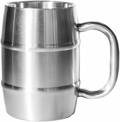 Insulated Beer Mug - Keeps Beer Ice Cold! Perfect Gift for Beer Lovers - Double Wall Stainless Steel 17oz (1, Stainless Steel) (Beer Glass Cold)