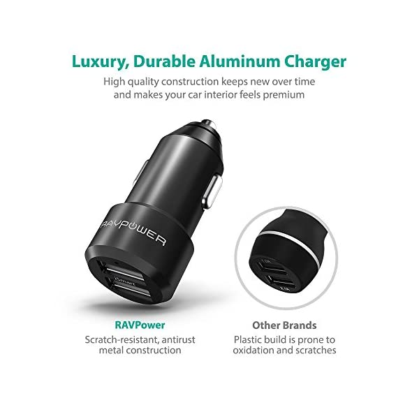 Car Chargers 2 Packs RAVPower 24W 48A Metal Dual USB Car Adapter With ISmart 20 Charging Tech For IPhone 8 X 7 6s 6 Plus Galaxy S7 S6 Edge Plus Note 5 4 And More