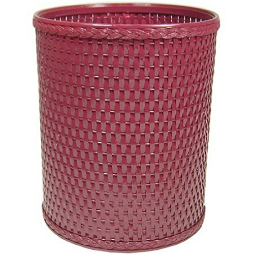 Chelsea Collection Decorator Color Round Wicker Wastebasket (Raspberry)