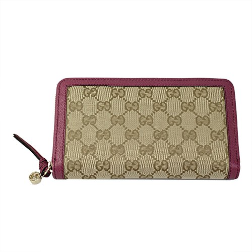 Gucci Brie Women's GG Motif Beige Canvas/Pink leather Long Wallet 323397 KH1BG 8479
