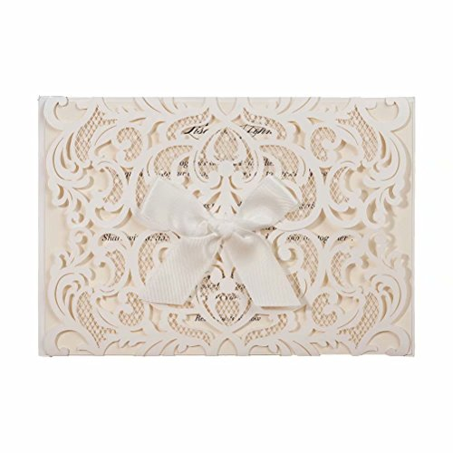 50X Wishmade White Laser Cut Invitation Ribbon Bowknot Invitation Card Kits for Wedding Invitation Baby Shower with Envelope Provide Personalized Printing AW7077
