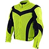 Xelement CF-6019-66 'Invasion' Men's Neon Green Mesh Armored Motorcycle Jacket - X-Large