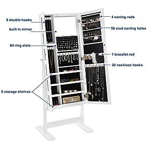 SONGMICS Large Jewelry Cabinet with Mirror 18 LEDs Jewelry Armoire Organizer, 6 Photo Frames White UJJC92W