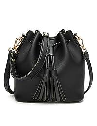 XY Fancy Women PU Leather String Shoulder Bag Luxury Bucket Bags Fashion Girls Tassel Crossbody Handbag Black