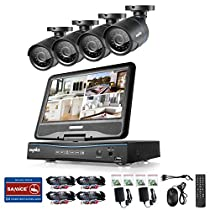 SANNCE 8CH 720P Video Monitoring System with 1080N 10.1'' LCD Combo and (4) Surveillance Cameras Support P2P Technology, QR Code Scan Phone Remote Access Viewing -No HDD