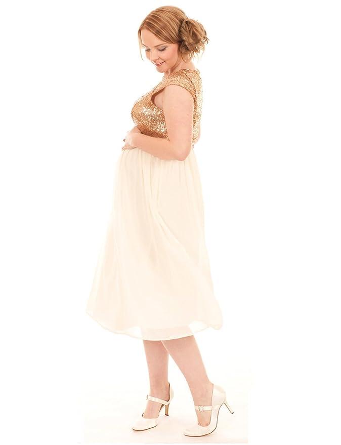 Rosa Pixie - Glamorous Gold maternidad de lentejuelas Fiesta Noche Formal vestido Dorado dorado 38: Amazon.es: Ropa y accesorios