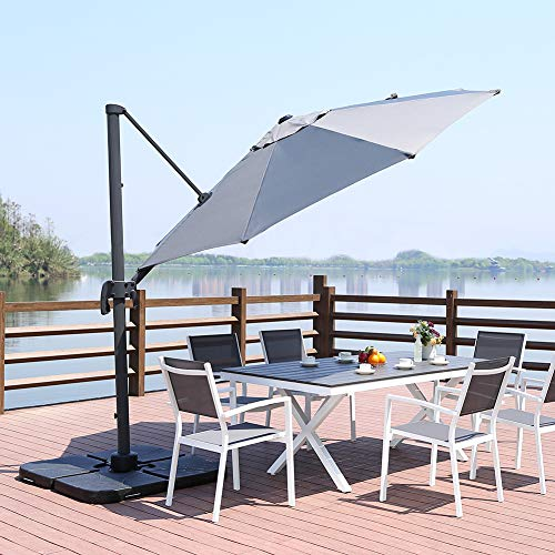 ROSE GARDEN Patio Cantilever Umbrella 10 Feet Outdoor Living Umbrella with Strong Sturdy Hand Push Round, 360° Rotated, 8 Metal Ribs, UV Resistant, Gray ()