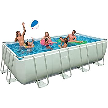 this item intex 18ft x 9ft x 52in rectangular ultra frame pool set with sand filter pump ladder ground cloth pool cover