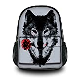 HST Fashion Wolf Unisex Canvas Rucksack Vintage Computer Laptop Backpack School Backpack Shoulder Bag (Wolf with Rose) CPB-60
