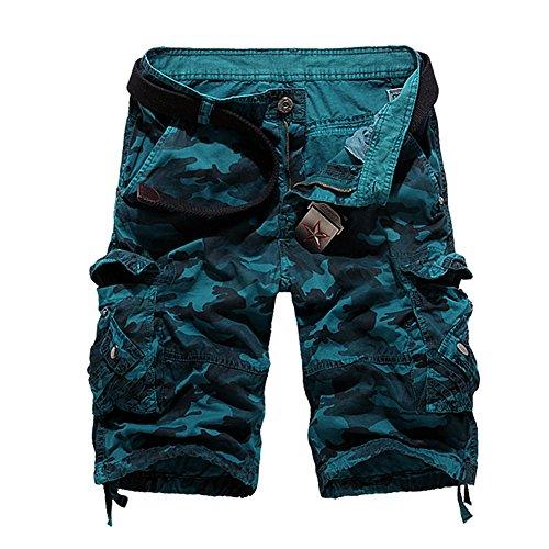 LOGEEYAR Men's Casual Solid Cotton Multi-Pocket Cargo Camouflage Shorts Outdoor ()