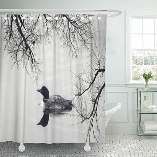 Semtomn Shower Curtain Custom Black White Loon Wall Travel 72
