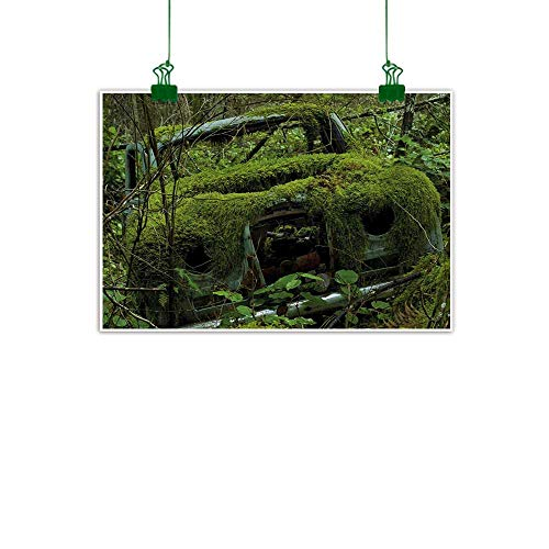 Nature,Oil Painting Old Abandoned Forest with Moss and Fourties and Fifties Car Art Photo Wall Hanging Decoration Olive Green and Dimgrey W 40