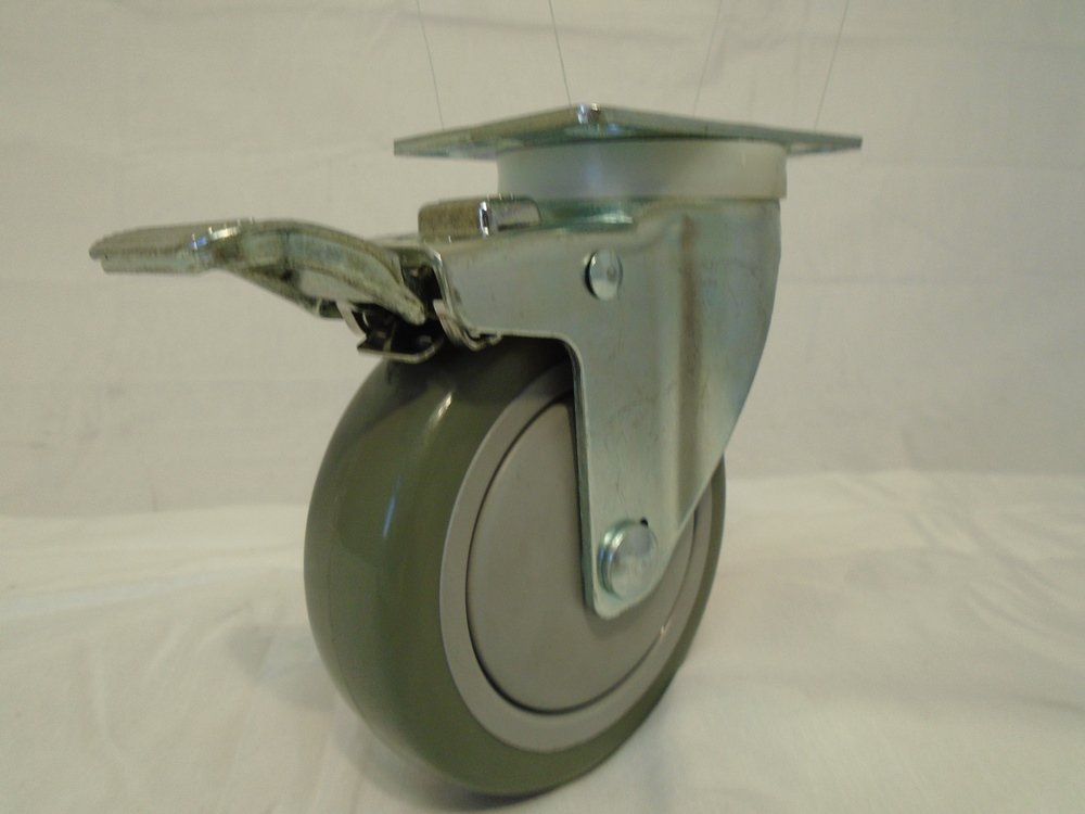 4'' X 1-1/4'' Swivel Caster Gray Polyurethane Wheel with Brake 400 Lbs Each (2) and Rigid(2) Tool Box by Creative Industrial Sales (Image #4)