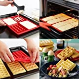 MUMU Useful 4 Cavity Waffles Cake Chocolate Pan Silicone Mold Baking Mould Kitchen Tool for Home