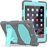 CSLU iPad 9.7 Inch 2017 Case, [Kickstand]Heavy Duty Shockproof Rugged Hybrid Impact Resistant Armor Defender Full Body Protective Silicone Cover for Apple iPad 9.7 Inch 2017 Tablet, Gray/Light Blue