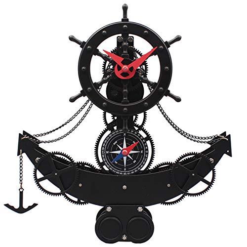 ギア船壁時計クリエイティブ時計ヨーロッパ時計ミュート時計リビングルーム寝室振り子時計クォーツ海賊船時計   B07QYRP8KY