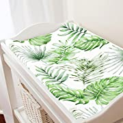 Carousel Designs Green Painted Tropical Changing Pad Cover - Organic 100% Cotton Change Pad Cover - Made in the USA