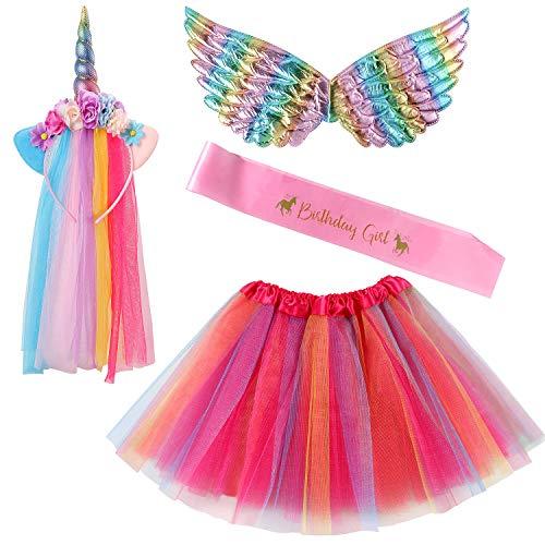 Lorfancy Princess Birthday Dress up Girls Toddlers Rainbow Unicorn Headband Satin Sash Tutu Skirt Wing Princess Unicorn Costume Birthday Party Favors for Girls