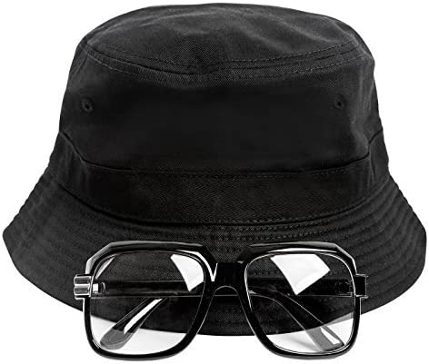 80s Hats, Caps, Visors, Buckets | Women and Men Gravity Trading 80s/90s Hip-Hop Costume Kit (Bucket Hat + Old School Squared Glasses) $19.99 AT vintagedancer.com