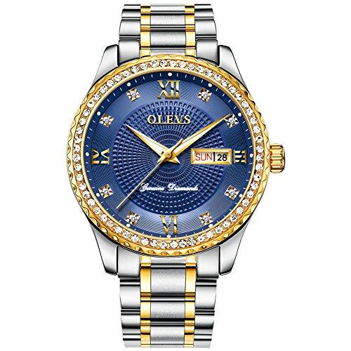 OLEVS Gentleman Luxury Gold/Blue/Black/White Diamond Titanium Steel Business Men's Quartz Wrist Watches, Free Adjust 14k Diamond Wrist Watch