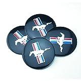 BENZEE 4pcs D028 56.5mm Emblem Badge Sticker Wheel Hub Caps Centre Cover Black Ford Mustang Cobra Jet Shelby