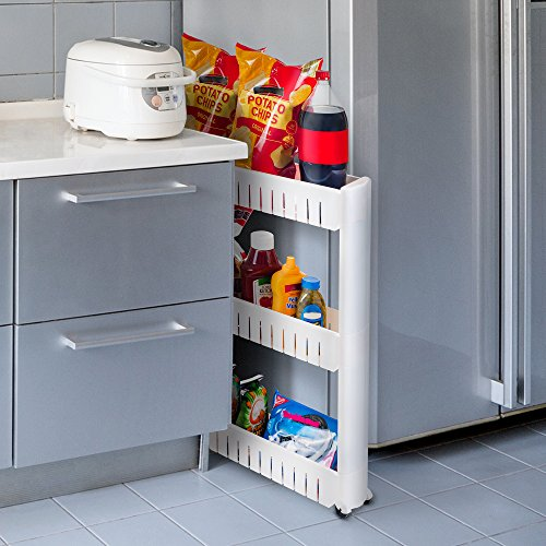 Mobile Shelving Unit Organizer With 3 Large Storage